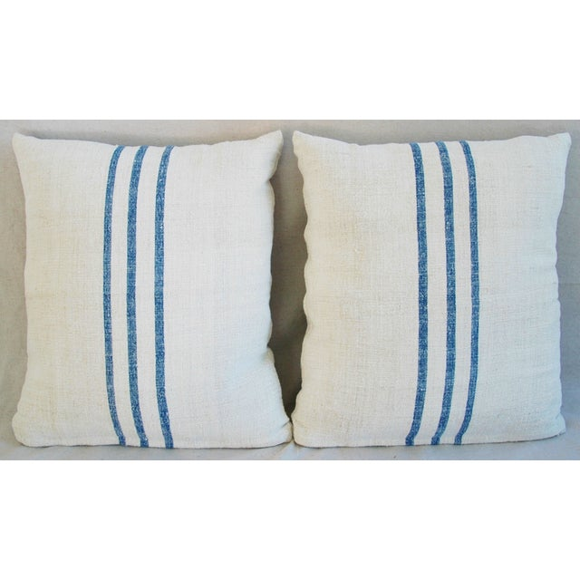 French Grain Sack Down & Feather Pillows - Pair - Image 3 of 11