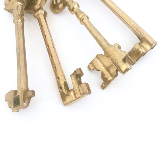 Large Brass Skeleton Keys on Brass Ring - Image 4 of 5