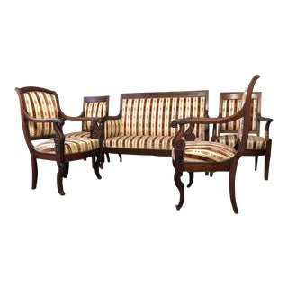 19th Century Vintage Empire Mahogany Salon - Set of 5 For Sale