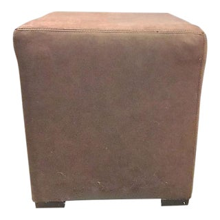 Vintage Leather Cube Ottoman