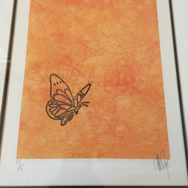 """Abstract """"Butterfly"""" Orange & Red Serigraphs - A Pair For Sale - Image 3 of 11"""