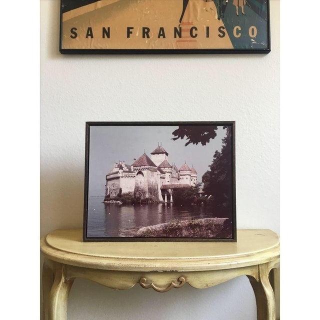 Large 1960s Castle Photograph on Rustic Wood - Image 4 of 4