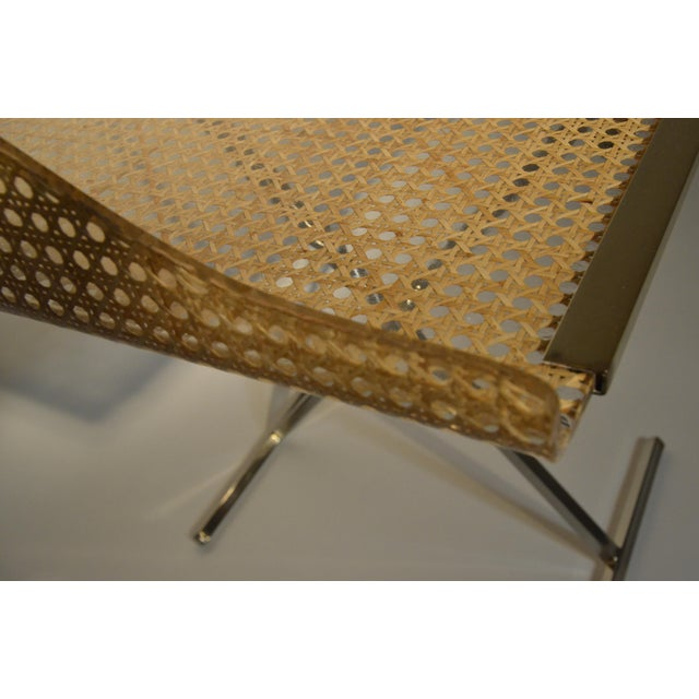Mid Century Modern Gabriella Crespi Style for Dior Home Resin Covered Wicker & Brass Butler's Tray on Chrome Stand - Image 6 of 12
