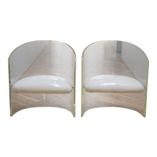 Mid-Century Lucite Barrel Lounge Chairs - a Pair For Sale