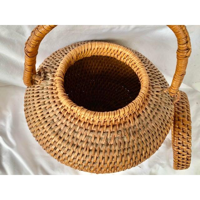 Brown Vintage Large Lidded Basket For Sale - Image 8 of 13
