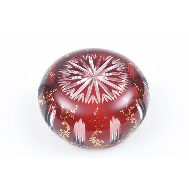 Six Cut-Glass Ruby Red and Gilt Petal Shaped Bowls for Dessert, Soup, Accent