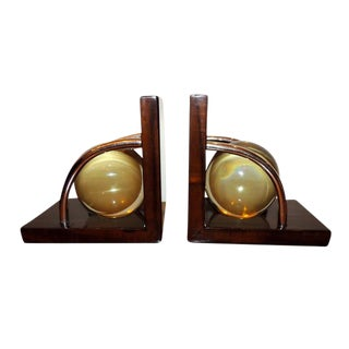 Art Deco Crystal Ball Bookends - a Pair For Sale