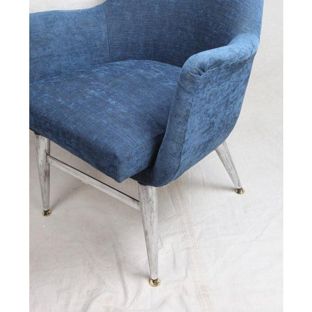Mid-Century Modern Blue Silk Linen Chairs With Chrome Base and Legs - a Pair For Sale - Image 9 of 10