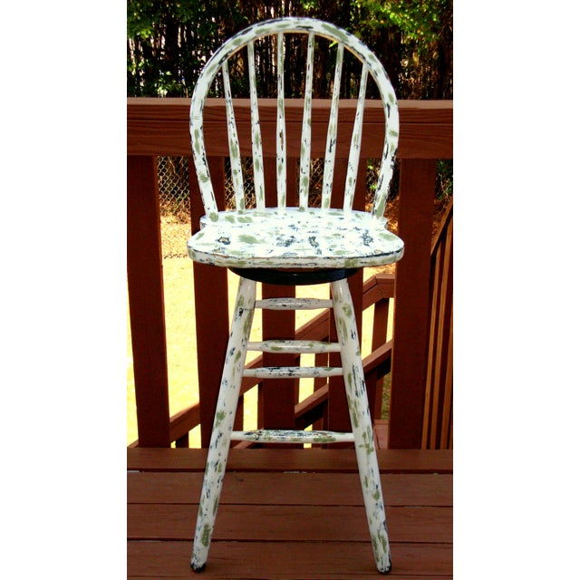 Country Cottage Hand Painted Distressed Bar Stool - Image 3 of 11