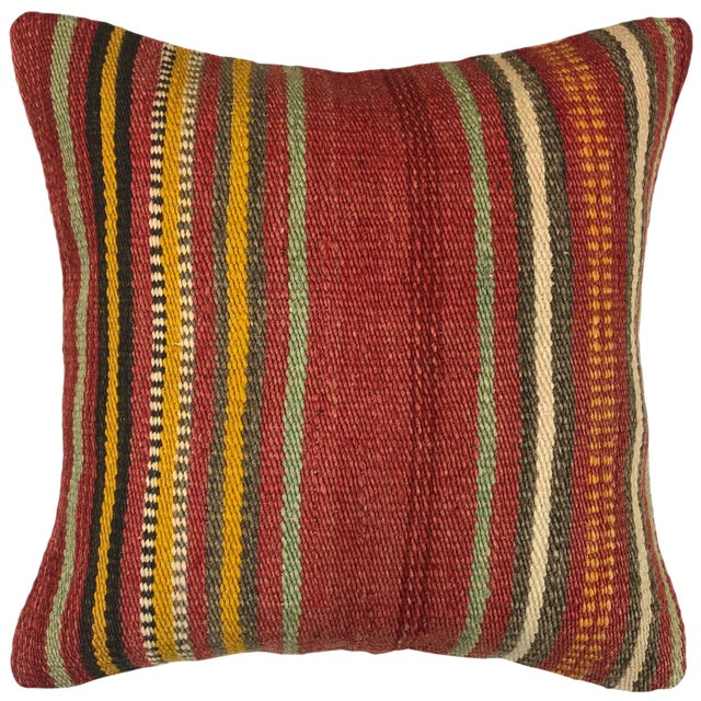 "Vintage Kilim Pillow | 16"" For Sale"