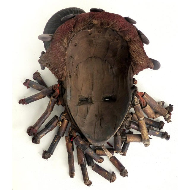 Red African Bamileke Tribal Mask From Cameroon W/Horns For Sale - Image 8 of 9