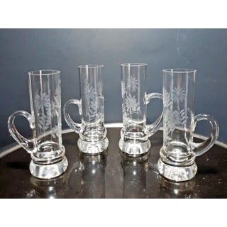 Vintage Blown Glass Floral Etched Shot Glasses - Set of 4 Preview