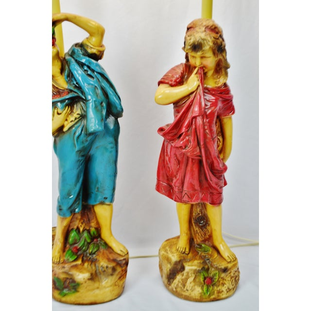 Vintage Figural Chalkware Table Lamps Cherry Boy and Bashful Girl - a Pair For Sale In Philadelphia - Image 6 of 13