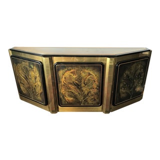 """1970s Mastercraft Etched Brass and Black Lacquer """"Tree of Life"""" Credenza Designed by Bernhard Rohne For Sale"""