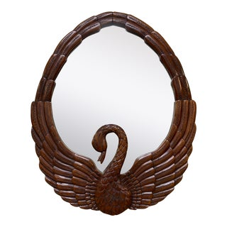 Hand Carved Swan Wall Mirror For Sale