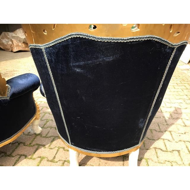 Baroque / Rococo Style Dark Blue Velvet Chairs - a Pair For Sale In Miami - Image 6 of 7