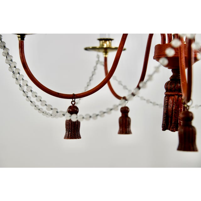 Mid-Century Modern Red Painted Iron 5 Arm Chandelier For Sale In Providence - Image 6 of 8