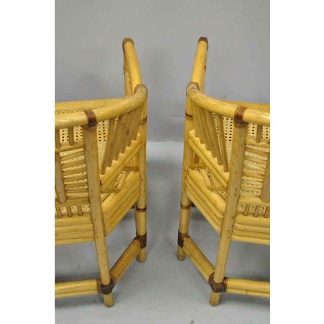 Bamboo Vintage Brighton Pavilion Style Bamboo & Cane Rattan Arm Chairs- A Pair For Sale - Image 7 of 11