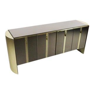 Ello Mirrored Cabinet Credenza W/ Brass Accents For Sale