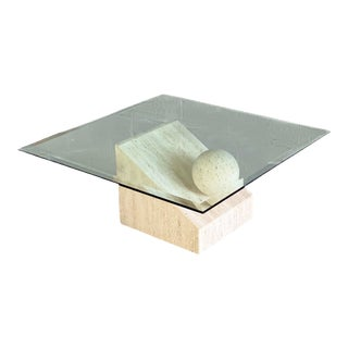 1980s Italian Postmodern Travertine and Glass Sculptural Coffee Table For Sale