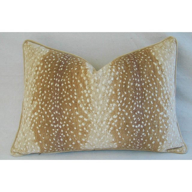 """Large Speckled Fawn Spot Velvet Feather/Down Pillow 26"""" X 18"""" For Sale In Los Angeles - Image 6 of 9"""