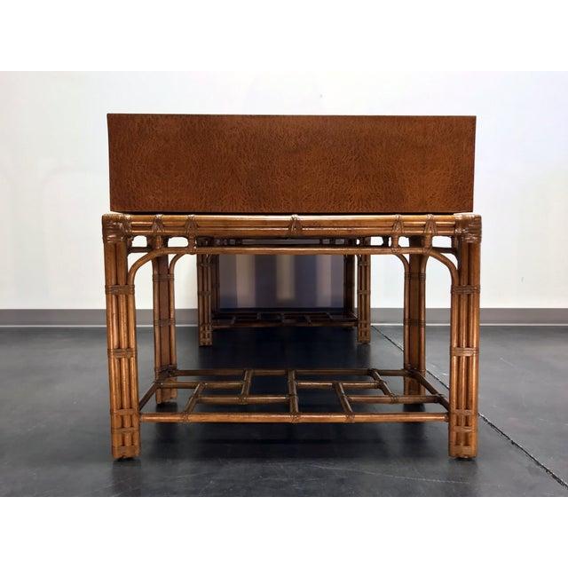 Bamboo Vintage Refurbished Henredon Bamboo Rattan Double Pedestal Desk For Sale - Image 7 of 13