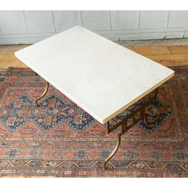 French 1940s Gilt Iron Coffee Table With Marble Top For Sale - Image 4 of 9