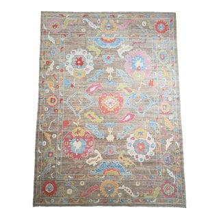 Turkish Contemporary Floral Hand-Knotted Oushak Area Rug For Sale