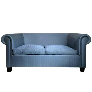 Mid-Century Italian Library Sofa in Blue Herringbone For Sale