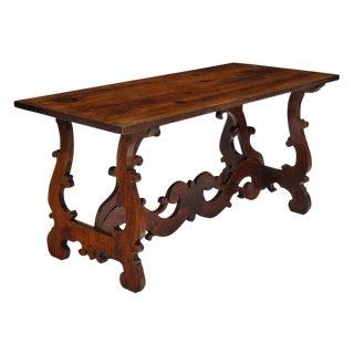 """Antique Spanish Renaissance """"Lyra"""" Trestle Table For Sale"""
