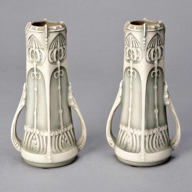 Pair Art Nouveau Pale Green & Cream Ceramic Vases - Image 2 of 5