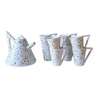 Memphis Splatter Paint Ceramic Tea Set - 9 Piece Set For Sale