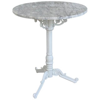 20th Century Round Cast Iron Base With Marble Top Garden Table or Bistro Table For Sale
