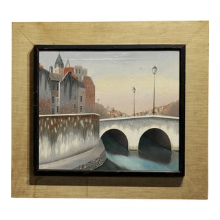 Foussa Itaya -City View by the River Bridge -Mid Century Oil Painting C.1950s