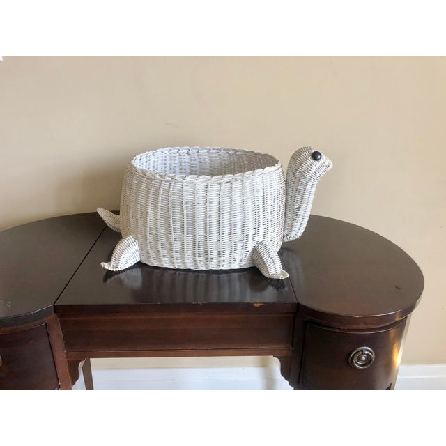 White Vintage White Wicker Turtle Basket For Sale - Image 8 of 8