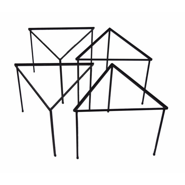 1960s 1960s Mid-Century Modern Triangle Stacking Side Tables - Set of 4 For Sale - Image 5 of 8