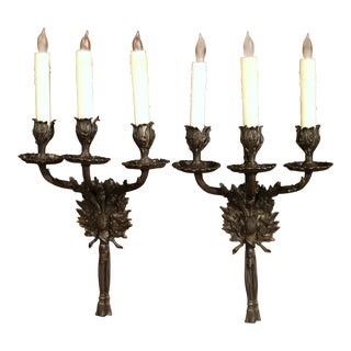 Mid-20th Century French Patinated Bronze Sconces With Louis XVI Bow - a Pair