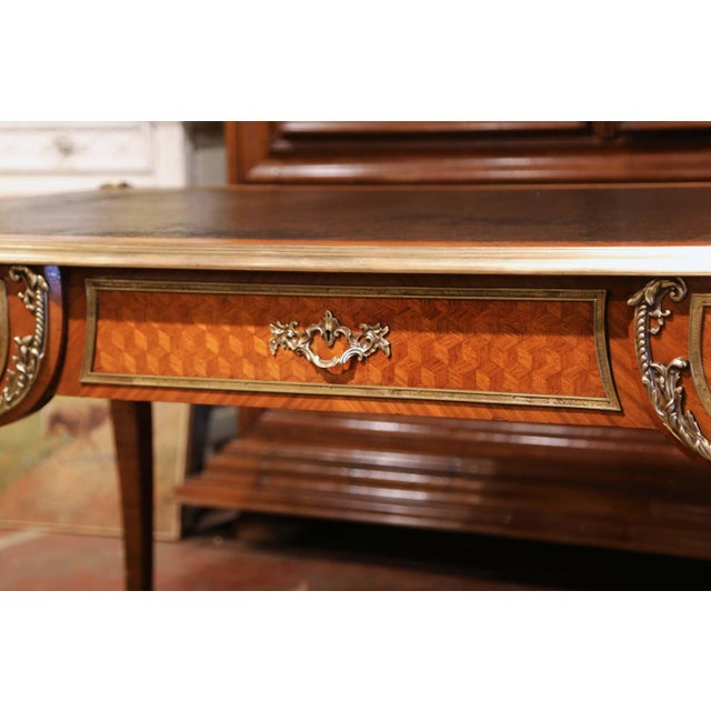 Late 19th Century 19th Century French Louis XV Marquetry and Bronze Bureau Plat With Leather Top For Sale - Image 5 of 13