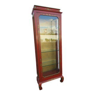 Oriental Tall Narrow Hand Painted Distressed China Display Cabinet Bookcase For Sale