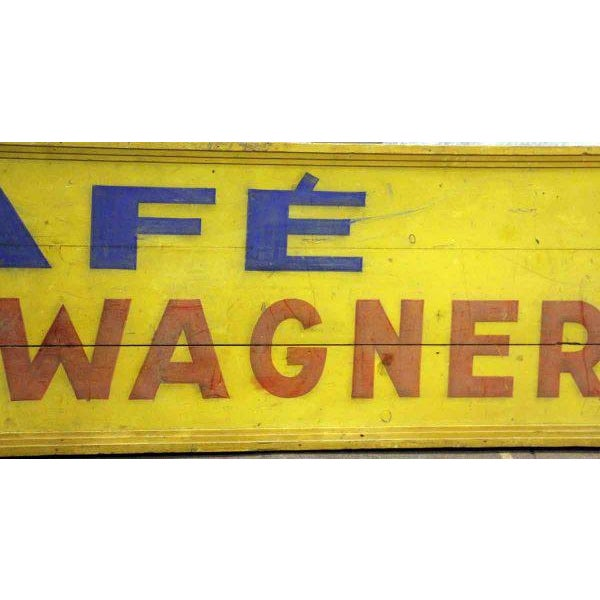 Industrial Hand Painted Cafe Biere Wagner Sign For Sale - Image 3 of 5