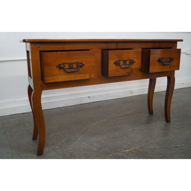 Custom French Country Cherry Wood Console Tables - A Pair - Image 8 of 10