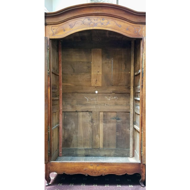 Gold 18th Century Louis XV French Armoire De Mariage With Carved Flower Accents Cherry Wood For Sale - Image 8 of 13