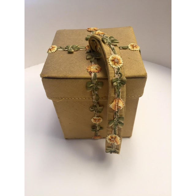 Early 21st Century Lulu Guinness Gold Silk Box Bag With Ribbon Flower Trim For Sale - Image 5 of 11