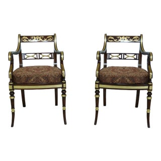 Neo-Classical Rosewood Paint Decorated Armchairs - a Pair For Sale