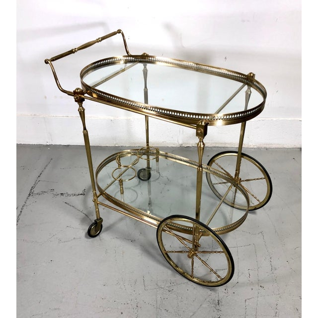 Vintage Maison Jansen Style Brass Bar Cart / Trolley For Sale - Image 10 of 13