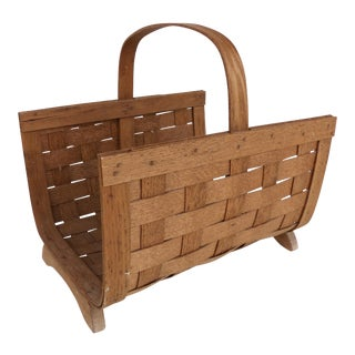 Woven Wood Magazine Basket w/ Handle