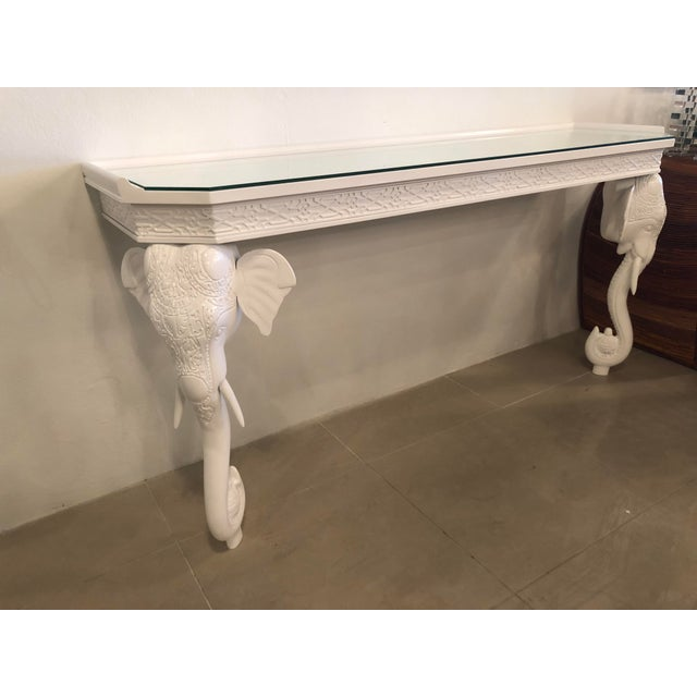 Hollywood Regency Vintage Gampel & Stoll White Lacquered Elephant Wall Console Table For Sale - Image 3 of 11