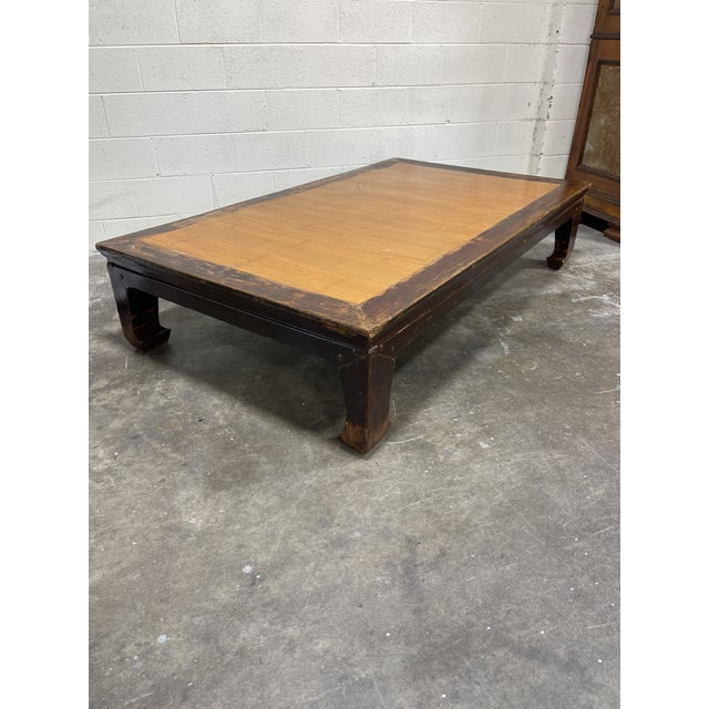 Coffee Oversized Ming Bamboo and Wood Kang Coffee Table For Sale - Image 8 of 8