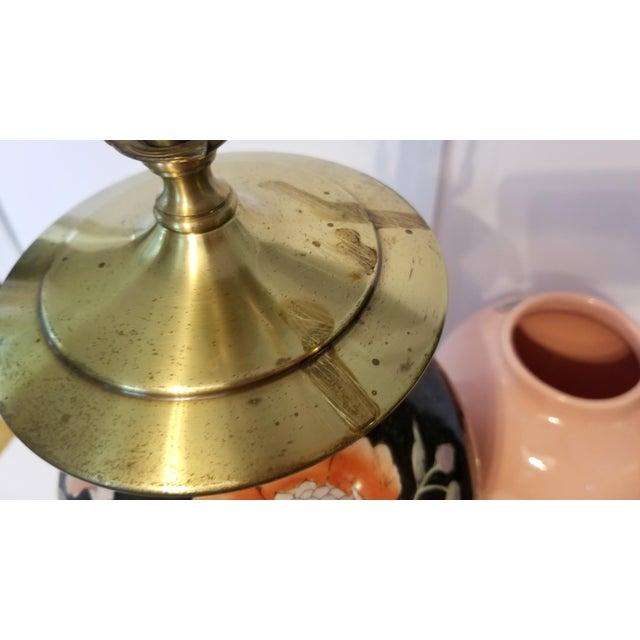 Orange Vintage Asian Black and Pink Floral Porcelain Table Lamp For Sale - Image 8 of 13