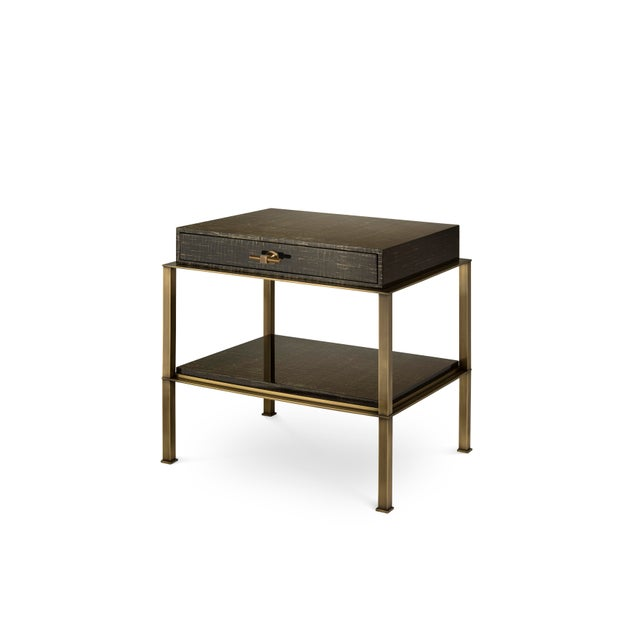 Contemporary Gambrel Nightstand Brass in Brown / Gold Texture - Steven Gambrel for The Lacquer Company For Sale - Image 3 of 3
